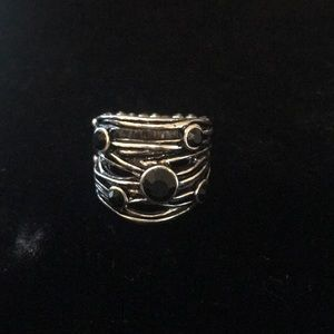 Jewelry - 5/$15 Silver ring with black stones.